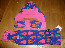 MARKS AND SPENCER PINK PURPLE PEAR PRINT FLEECE TRAPPER HAT MITTENS GLOVES SCARF