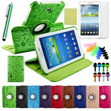 """360 Rotating PU Leather Case Cover Cute Stand For Samsung Galaxy Tab3 7"""" P3200"""