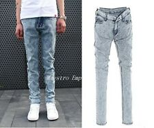 Acid Wash Grunge Punk Blue Indie Denim Vintage Skinny Men Style Jeans
