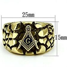 Gold IP Plated Stainless Steel Rugged Masonic Mason Mens Ring SIZE 8-13