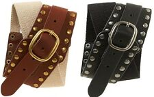 Aeropostale Aero Womens  Elastic Stud Studded Faux Leather Belts   Sz S/M or M/L