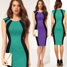 Elegant Women Optical Illusion Sleeveless Bodycon Cocktail Party Pencil Dress