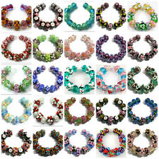 15 Lampwork Glass Beads Handmade Pink Blue Black Green Flower Spacer Rondelle