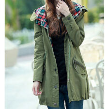 New Korea Women Drawstring Casual Button Down Slim Fit Hoodie Trench Coat Jacket