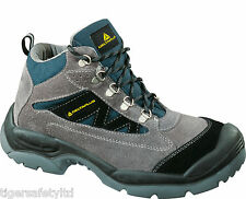 Delta Plus Panoply Caromb S1P Grey Suede Wide Fit Mens Steel Toe Safety Boots