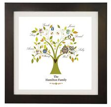 Personalised Name Family Tree, Owl, Picture, Wall Art Print, Gift, Word Art