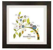 Personalised Name Family Tree, Owl, Picture, Wall Art Print, Gift, Word Art 2