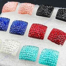 Mix Color 96pcs Fashion Womens Square Stud Earrings Wholesale Jewelry Lots