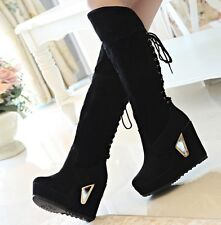 womens lace up brown/black suede high heel platform snow knee boots new