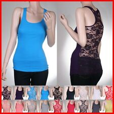 Racer Ribbed Floral Lace Back Womens Sexy Tank Top - USA Seller!! Shirt TEE Cami
