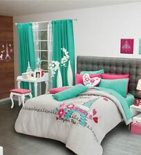 New Girls Teens Gray Aqua Blue Pink Love Paris Comforter Bedding Sheet Set