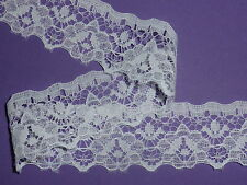 "Pretty White Nottingham Lace Trim 1""/2.5cm Bride Costume Wedding Cards Cakes"