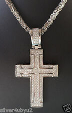 Hip-Hop stainless steel chain, bracelet with micro-pave setting cross pendant
