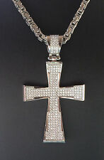Stainless steel/steel gold plated micro pave Cross pendant chain & bracelet set