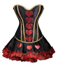 Sexy Queen Of Hearts Corset Costume Mini Skirt Steampunk Size S-2XL Outfit WC