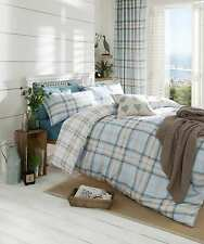 Catherine Lansfield Kelso Duck Egg Tartan Check Cotton Rich Bedding