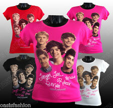 NEW GIRLS KIDS ONE DIRECTION I D I LOVE YOU SIGNATURE T-SHIRT TOP SIZE5-13 Years