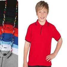 Kids Contrast Polo Shirt Boys Girls Size 4 6 8 10 12 14 Sports Casual Sport 2KCP