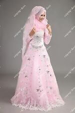 2014 Exquisite Wedding Dress rhinestone Organza Bridal Gown  Muslim Gown Custom