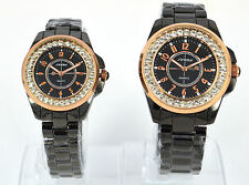 New Fashion Watch Mens & Women Crystal Black Rose Gold Diamonte