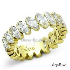 4.55 CT MARQUISE CUT CZ 14K GOLD PLATED ETERNITY WEDDING RING WOMEN'S SIZE 5-10