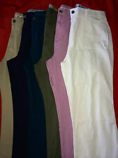 Brand New Ladies Ex Chainstore Chinos Pants Sizes 10 to 26 Navy/Greens/Lilac R13