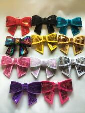 "5 x 2"" Sequin bows For Headbands Hair Clips Tutus  8 Colours Available"