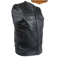 Mens No Collar Leather Motorcycle  Vest With Black Liner