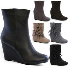 LADIES CHELSEA BOOTS WOMENS WINTER ANKLE DESERT FAUX SUEDE WEDGE HEELS SHOES