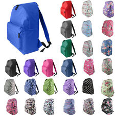 MENS GIRLS BOYS PLAIN RETRO BACKPACK BAG SCHOOL COLLAGE TRAVEL WORK RUCKSACK