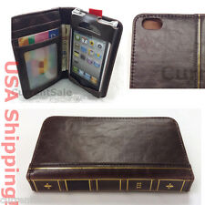Vintage Antique Old BOOK Style Leather Case Cover Wallet iPhone 4s 5c 5s 6 plus