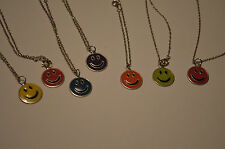"""Smiley Face Necklace Happy on 20"""" Chain Berry Green Orange Blue Purple Yellow"""
