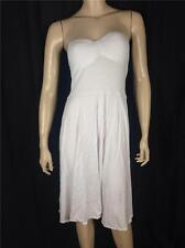 NEW FAMOUS CATALOG STRAPLESS PUSH-UP BRA TOP MIDI SUMMER DRESS WHITE SZ 32A, 34A