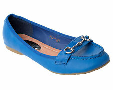 WOMENS ROYAL BLUE FLAT SMART CASUAL LOAFERS PUMPS SHOES LADIES UK SIZE 3-8