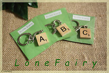 Handmade Wood Scrabble Tile Silver Plated Keyring in Packet *Choose your Letter*