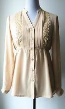NWT Urban Outfitters DOE & RAE Vintage Victorian Taupe Blouse--Classic & Elegant