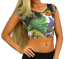 Womens Crop tee Summer Urban Print Top Ladies Sizes UK 8 10 12 14