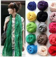 Hot Womens Girls Soft Crinkle Long Pure Candy Scarf Wrap Shawl Stole 19 Colors