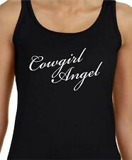 LADIES TANK TOP COWGIRL ANGEL FRONT AND BACK PRINT COWGIRL UP RODEO COWBOYS
