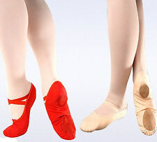 CANVAS BALLET DANCE SHOES KID GIRL'S LADY SLIPPERS RED BLACK PINK