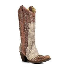 Corral Ladies Sand/Cognac Laser Overlay Cowboy Boots A2665 New