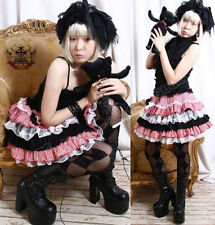Sweet Country Lolita Red Checker TRI-COLOR Tiered Skirt