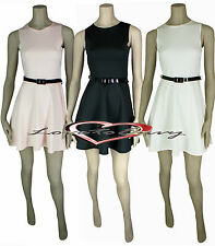 Ladies Sleeveless Dress Womens Flared Party Evening Skater Dress size 8-14.