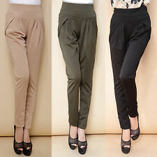 Korean Womens Slim Stretch Casual Pencil Harem Plus Size Pants Trousers Leggings