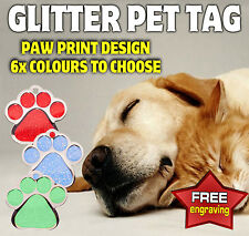 GLITTER PAW PRINT PET TAG ID DISC - DOG OR CAT Free Engraving - Name Tag collar
