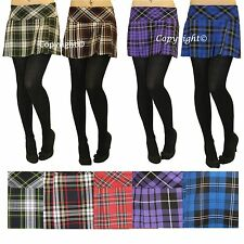 "New Ladies Short Box Pleat Pleated Micro Mini 14"" Inch Tartan Skirt Uk Size 8-18"
