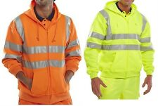 New Hi High Viz Vest Hoodie Zip Hooded Top Jacket Work M-3XL Yellow & Orange
