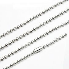 2.4mm Silver Stainless Steel Ball Beads Necklace Chain(18-27inch)