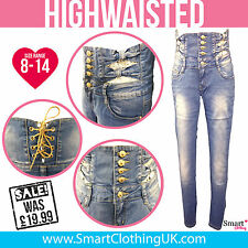 New Ladies Womens Skinny Stretch Fit High Waisted Jeans Blue Stonewash Size 8 10