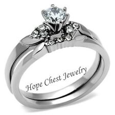 Stainless Steel Round Solitaire CZ Engagement Ring& Wedding Ring Set -SIZE 5-10